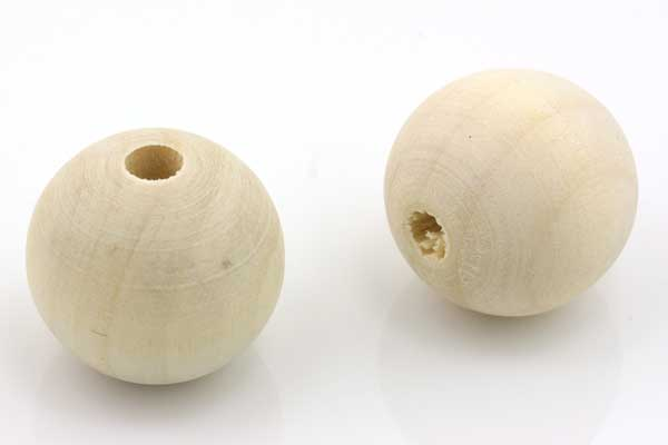 Træperle rund 25 mm natur 3 stk