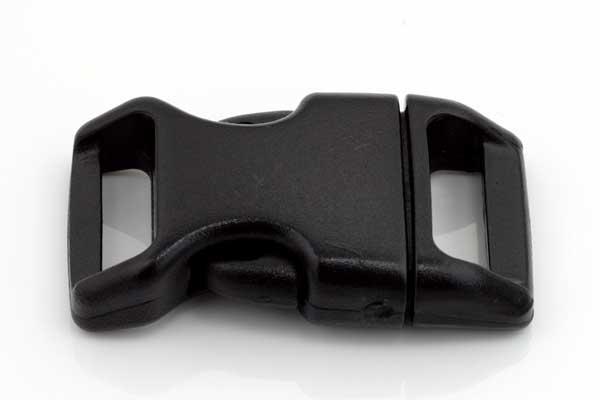 Lås til faldskærmsline sort plastic 4x2,2 cm OBS nyt design