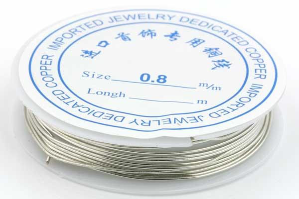 Smykkewire kobber sølv farvet 0,8 mm 3  mtr
