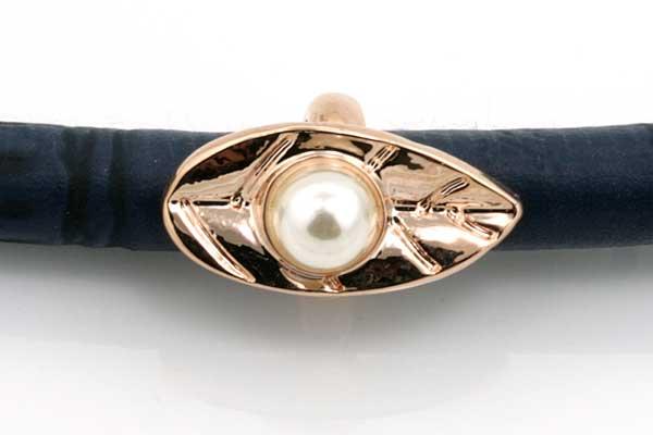 Charms til 6 mm snøre rose guldbelagt med perle