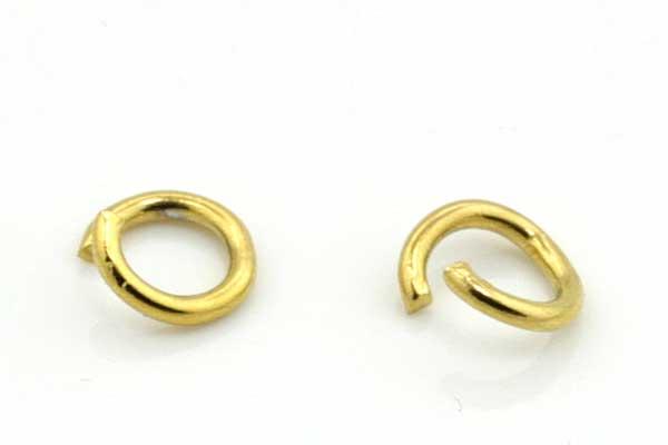 O-ringe rustfri stål guld hul 4 mm 20 stk
