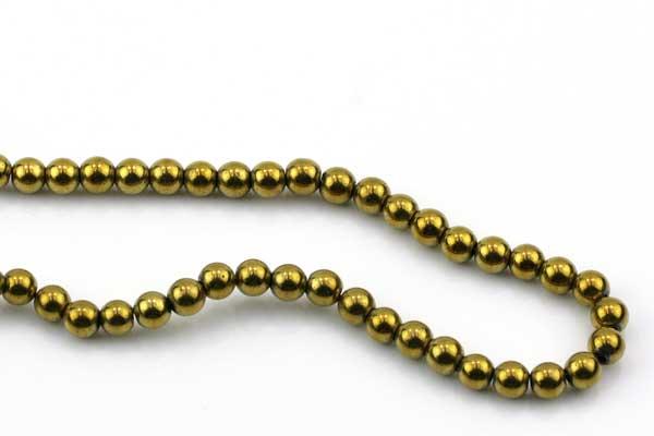 Hematit rund guld 4 mm