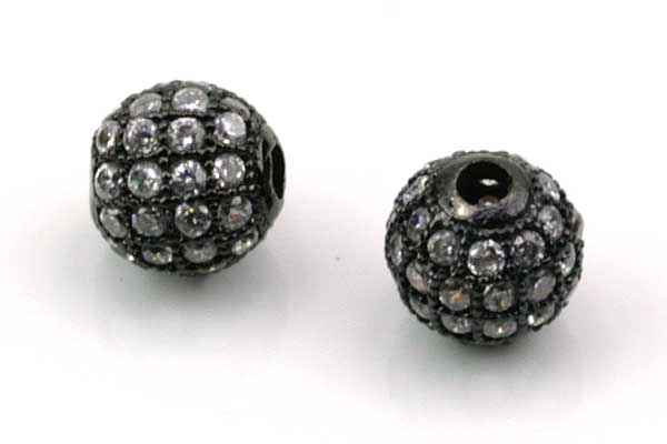 Rhinsten perle 8 mm, Gunmetal/klar