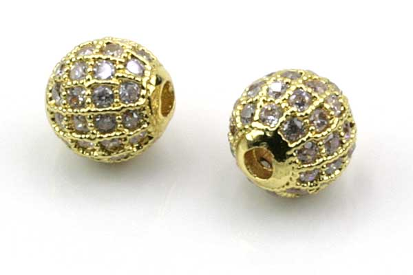 Rhinsten perle 8 mm, Guld/klar