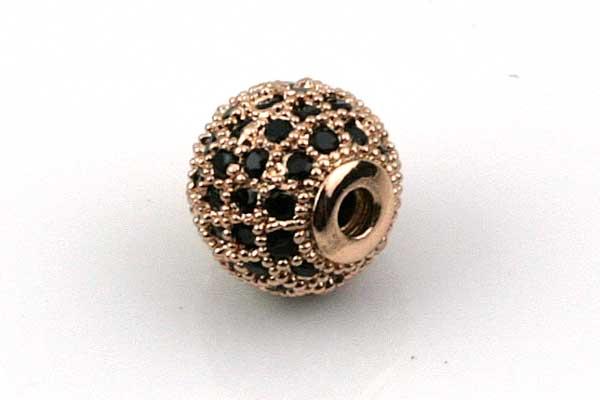 Rhinsten perle 8 mm, RoseGuld/Sort