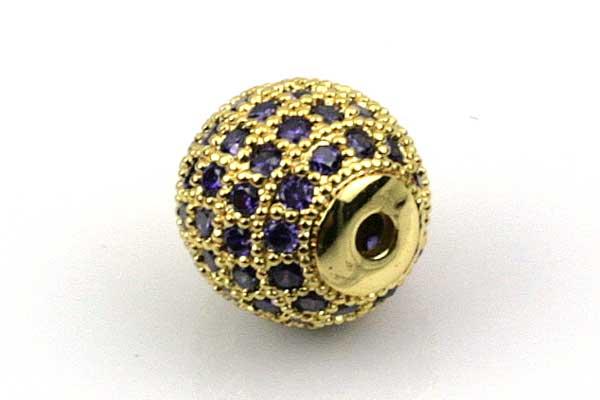 Rhinsten perle 10 mm, Guld/Lilla