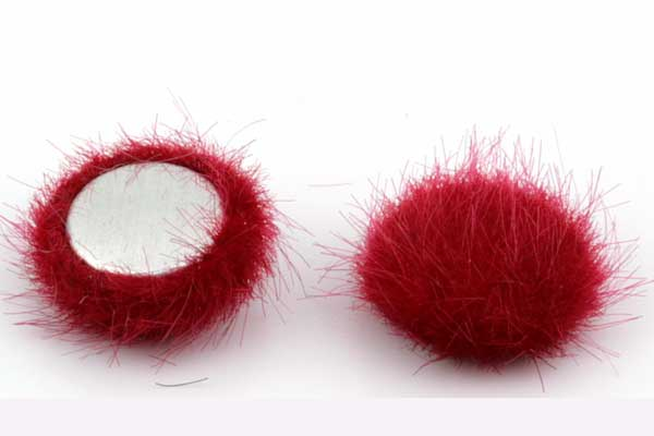 Cabochon Fake Fur Halvrund Rød 1 par