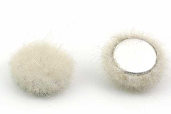 Cabochon Fake Fur Halvrund Beige 1 par