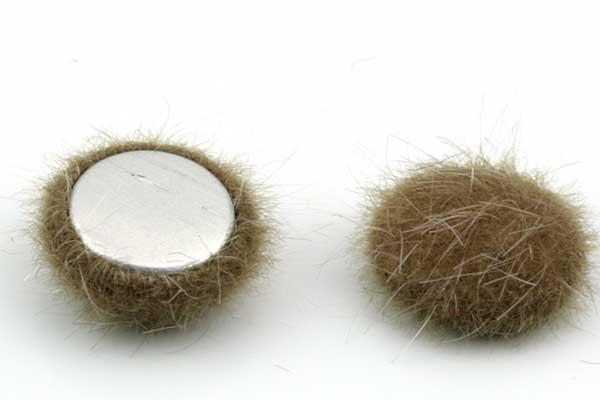 Cabochon Fake Fur Halvrund Kamel 1 par