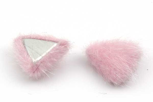 Cabochon Fake Fur Trekant Pink 1 par
