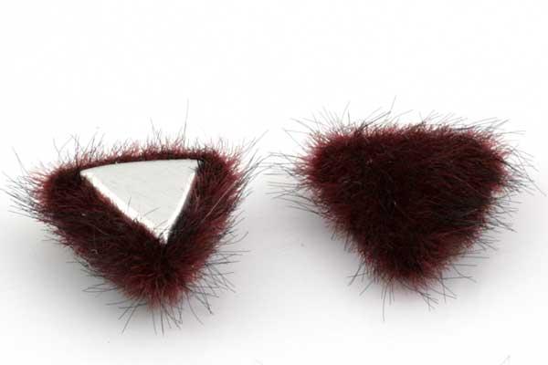 Cabochon Fake Fur Trekant Vinrød 1 par