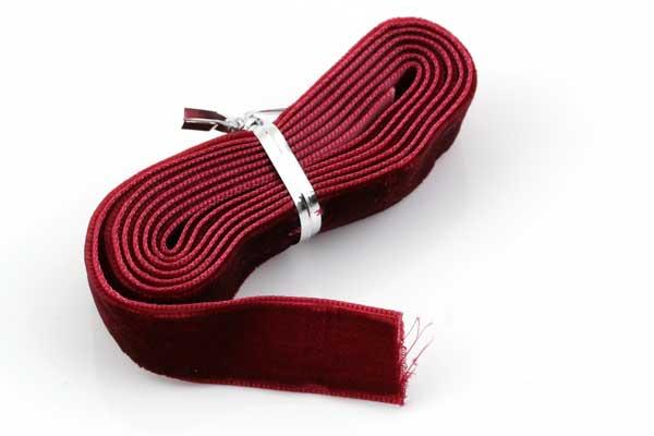 Fløjlsbånd 16 mm 1 bundt Mørk rød
