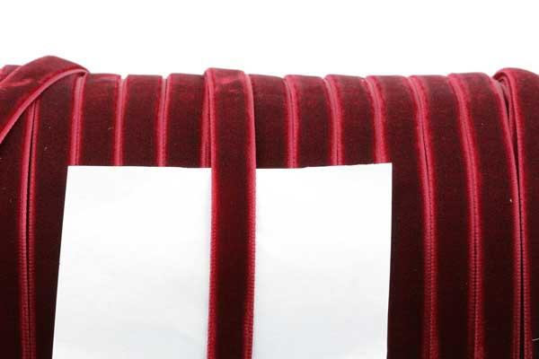 Fløjlsbånd 9,5 mm Mørk rød