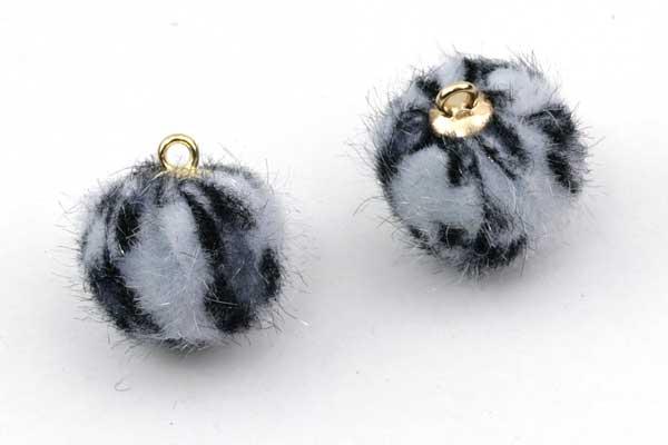 Kugle vedhæng Fake Fur 17~18 mm Sort/hvid