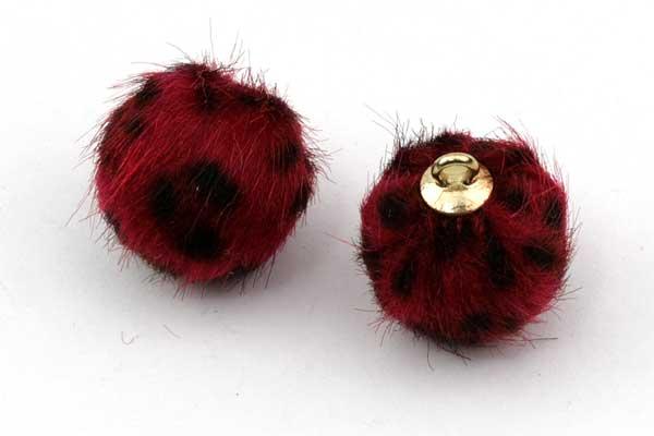 Kugle vedhæng Fake Fur 17~18 mm Sort/rød