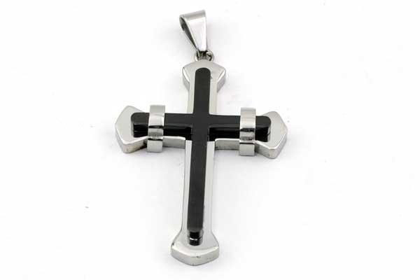 Rustfri stål vedhæng Kors med sort