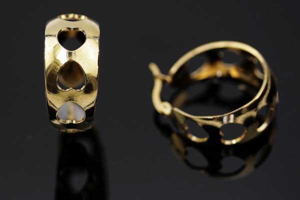 Ørehængere med hjerter rustfri stål guld