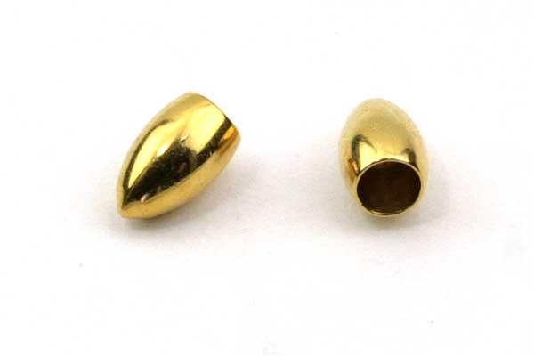 Rustfri stål enderør guld 2,5 mm hul 10 stk