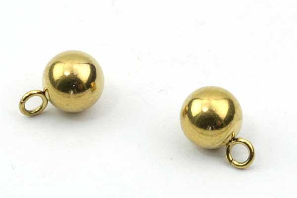 Rustfri stål led med øje guld  hul 2 mm