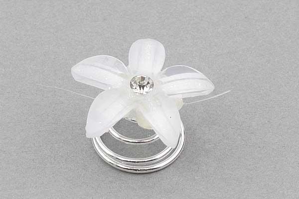 Hårpynt spiral hvid blomst 20 mm 4 stk