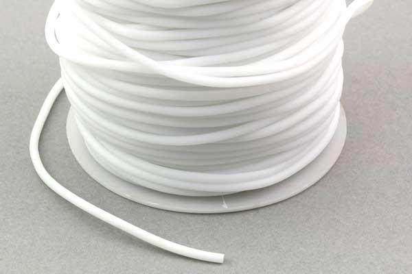 Gummisnøre hvid 2 mm hul