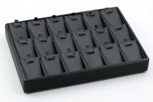 Bakke til smykker - sort med 18 rum