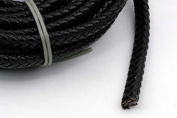 Lædersnøre Flad Flettet sort 10x5 mm 0,5 mtr