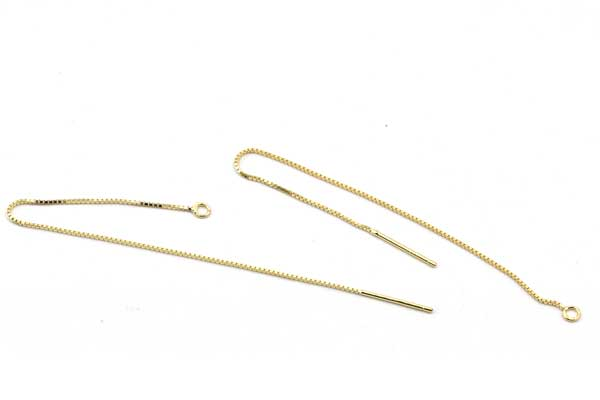 Ørekæde Sterling sølv 100 mm Guld 1 par