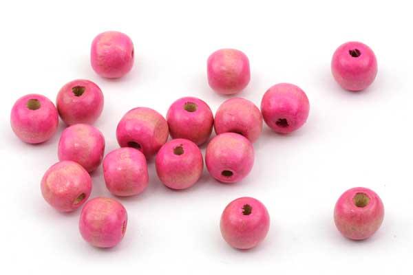 Træperler 12 mm pink 20 stk