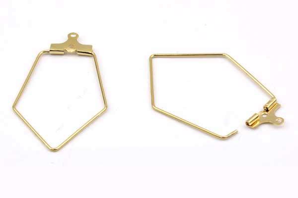 Hænger til ørekrog Rombus rustfri stål Guld 5 par