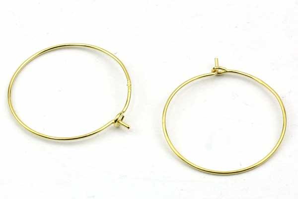 Creoler øreringe Sterling sølv Guld 20 mm 1 par