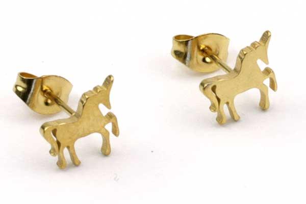 Ørestikker rustfri stål guld  hest 9 mm