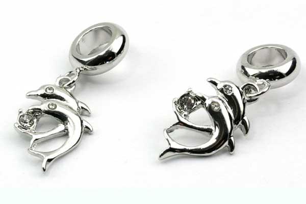 Charms til 6 mm snøre sølvbelagt delfiner