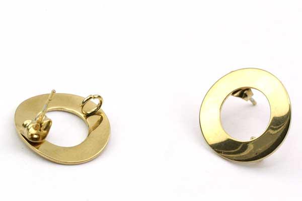 Ørestikker rustfri stål cirkel guld 5 par