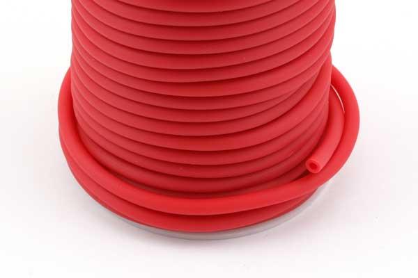 Gummisnøre Rød 4 mm hul