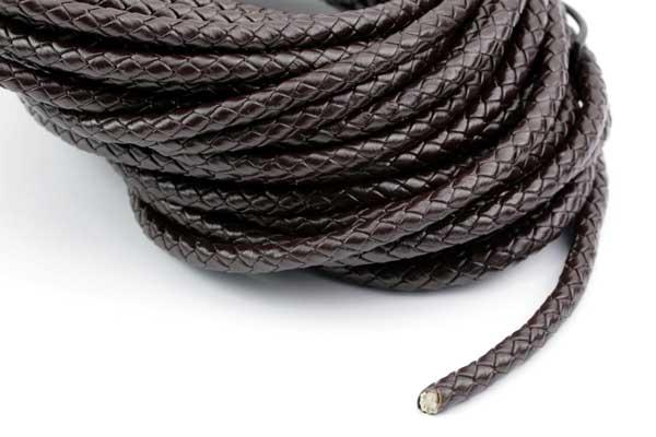 Lædersnøre Flettet brun 5 mm