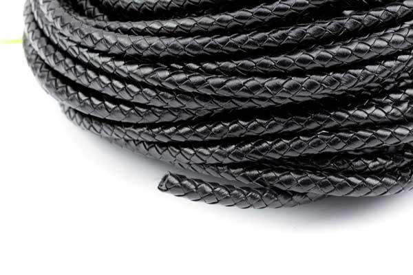 Lædersnøre Flettet sort 5 mm