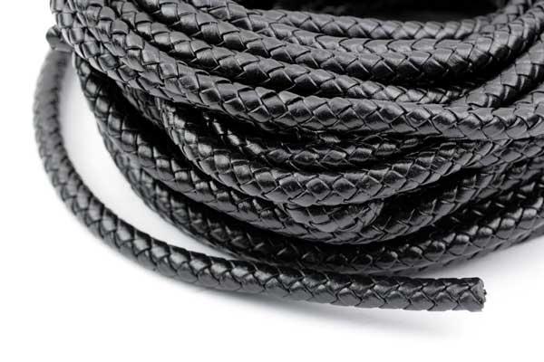 Lædersnøre Flettet sort 6 mm