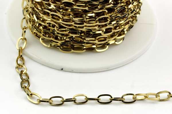 Rustfri stål kæde guld 7 x 4 mm