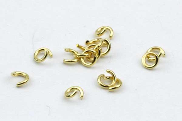 O-ringe rustfri stål guld hul 1,8 mm 50 stk