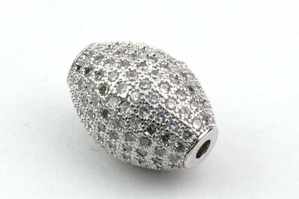 Metal perle Sølv med rhinsten aflang