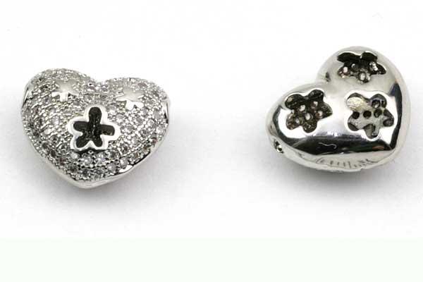 Metal Hjerte Sølv med rhinsten