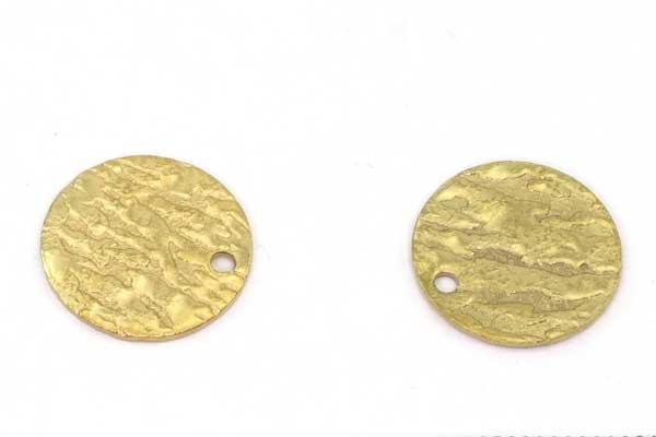 Rustfri stål vedhæng flad guld rund  15 mm