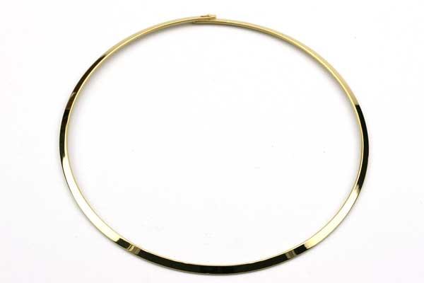 Halsring rustfri stål 4 mm guldbelagt