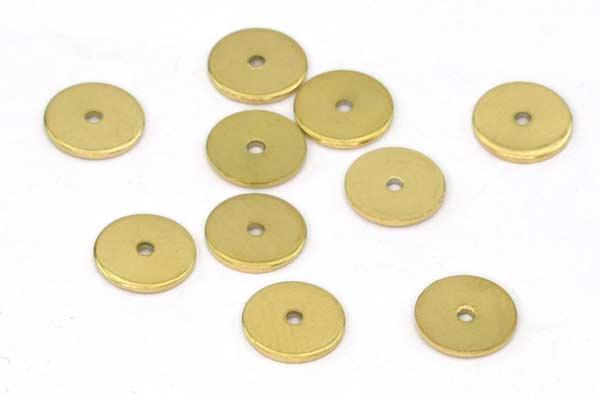 Rustfri stål perle skive 8 mm Guld flad 10 stk