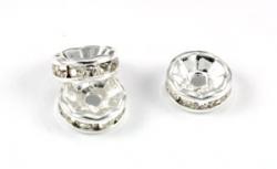Silvercolor rhinsten rondel klar10 mm