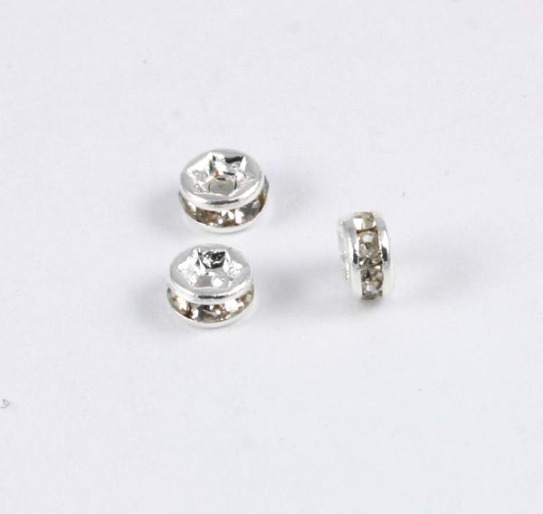 Rhinstensrhondel 4 mm sølvfarve