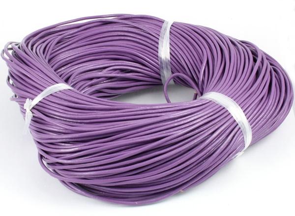 Lædersnøre lys violet 2 mm
