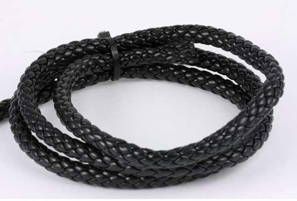 Imiteret lædersnøre sort 8 mm