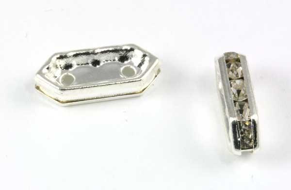Rhinsten rektangel m.2 huller, sølv farve